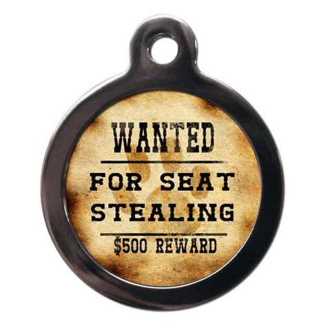 Wanted For Seat Stealing Pet ID Tag