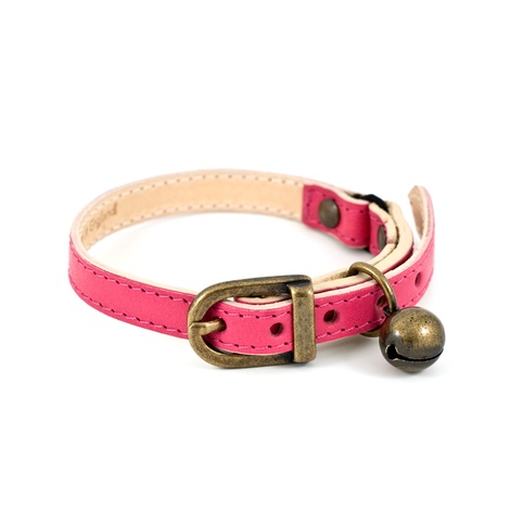 Fuchsia Leather Cat Collar 3