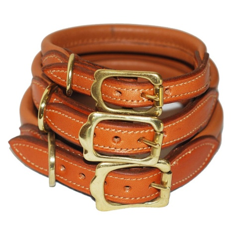 Strong & Soft Padded Leather Dog Collar - London Tan 2