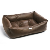 Pet Pooch Boutique - Brown Faux Leather Dog Bed