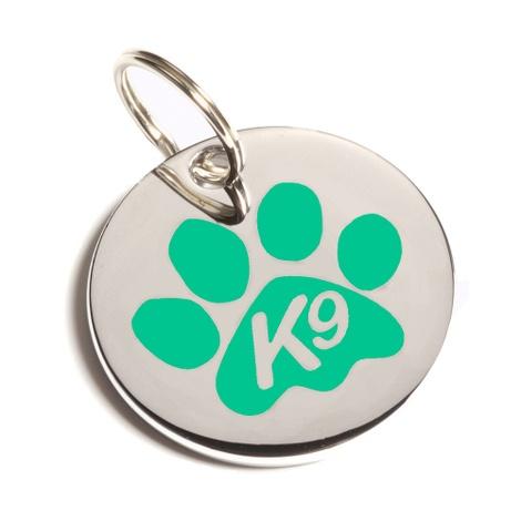 K9 Green Paw Dog ID Tag