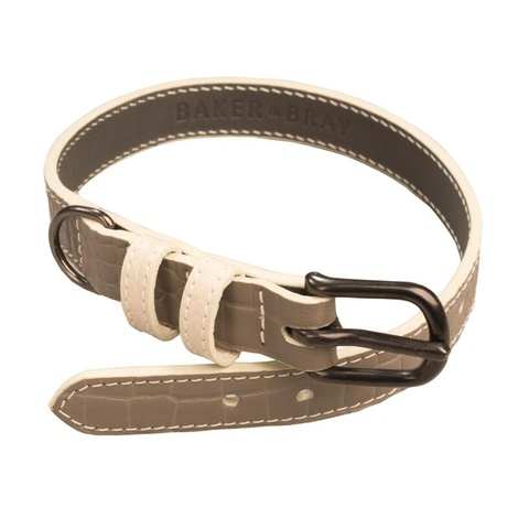 Paris Croc Leather Dog Collar – Steeple Grey & Stone