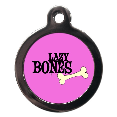 Pink Lazy Bones Dog ID Tag