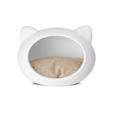 White Cat Cave with Beige Cushion 2