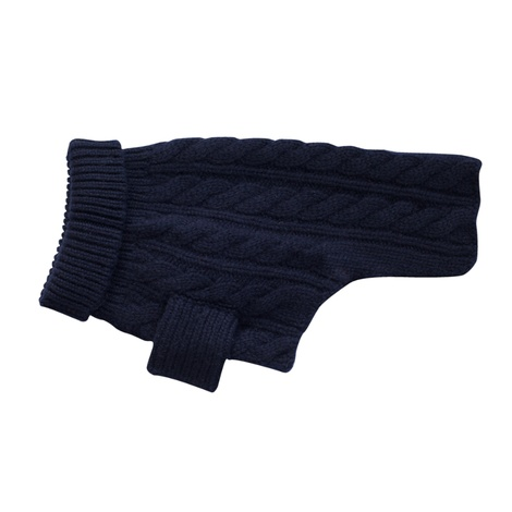 Cable Knit Cashmere Dog Sweater - Midnight