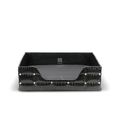 Rectangular Black Crocodile Lounge Bed