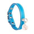Light Blue and Silver Stitch Leather Collar