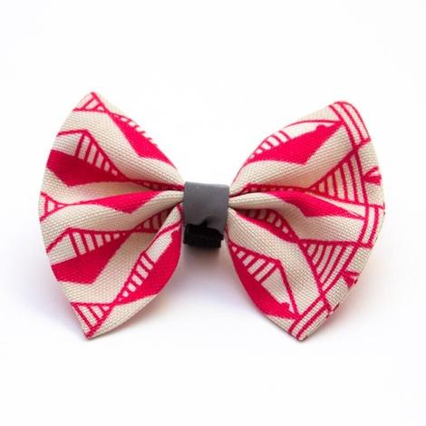 Geo Pink Dog Bow Tie