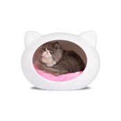 GuisaPet - White Cat Cave with Pink Cushion