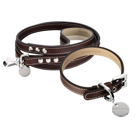 Royal Leather Dog Collar & Lead Set - Chocolate Brown