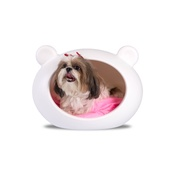 GuisaPet - Small White Dog Cave with Pink Cushion