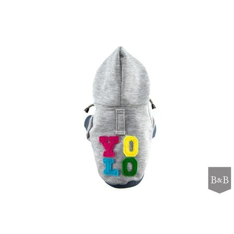 Bowl&Bone Dog YOLO Hoodie Grey