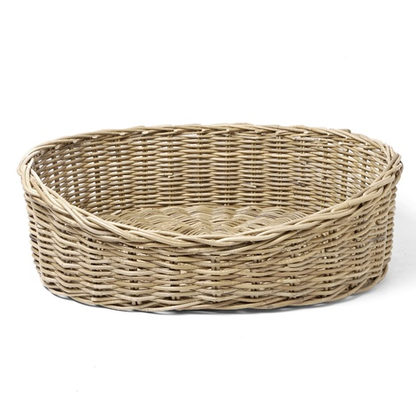 Greywash Oval Rattan Basket  2
