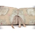 Owl Motif Dog Roll Bed - Taupe 2