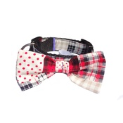 "Pet Pooch Boutique - Patchwork Dog Bow Collar 1"" Width"