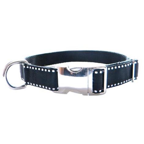 Dog Collar - White Saddle Stitch on Black
