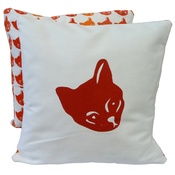 Tomato Catshop - Cat Cushion Tricolour & Mustard - Red Print