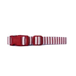 Red & Cream Stripe Dog Collar