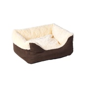 House of Paws - Cream Faux Fur & Suede Square Snuggle Dog Bed