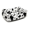 Black Cow Print Dog Bed