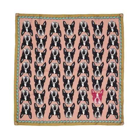 Boston Terrier Print Silk Scarf - Pink & Rich Olive 2