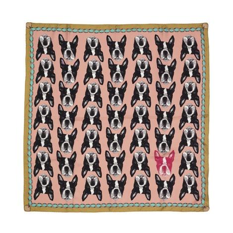 Boston Terrier Print Silk Scarf - Pink & Rich Olive 2