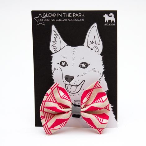 Geo Pink Dog Bow Tie 3