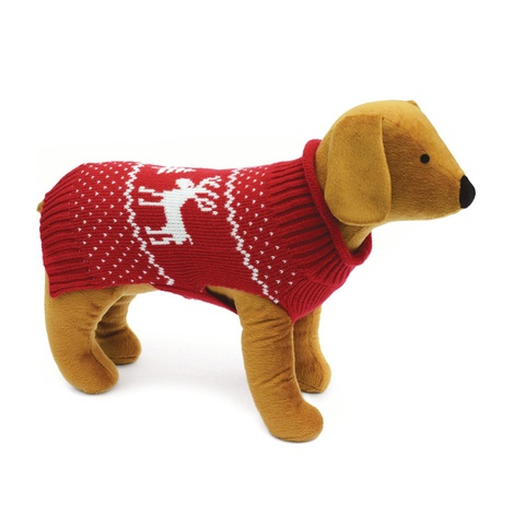 Doggy Things Reindeer Knitted Jumper – Red