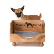 Minkeys Tweed - Vintage Wine Crate Dog Bed & Blanket
