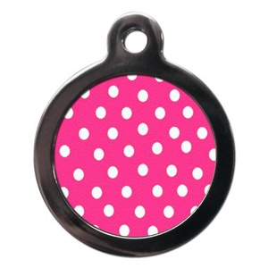 Polka Dot Pet ID Tag - Pink