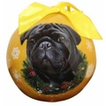 Black Pug Christmas Bauble