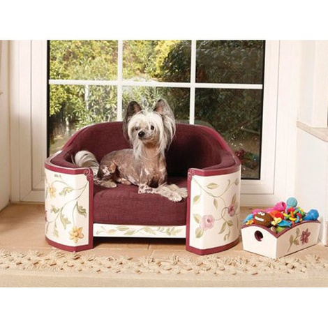 White, Aubergine & Green French Provincial Dog Sofa 4