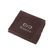 PetsPyjamas - Personalised Brown Bone Dog Towel - Classic font
