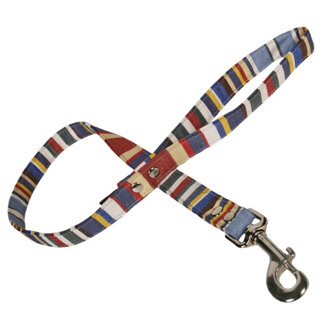 Blue Deckchair Stripe Fabric Dog Lead