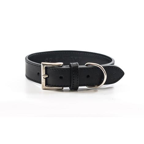 Leather dog collar (Sorrento) - Charcoal 2