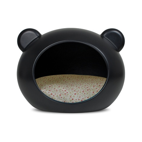 Small Black Dog Cave with Floral Cushion