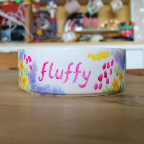 Personalised Meadow Flowers Cat Bowl 4