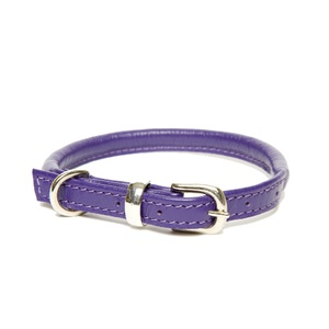 D&H Rolled Leather Collar - Purple