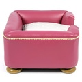 The Tetford Square Magenta Leather Dog Bed 4