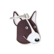 My Family - Bull Terrier Engraved ID Tag – Brown