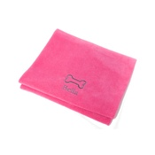 PetsPyjamas - Personalised Cerise Bone Dog Blanket - Classic font