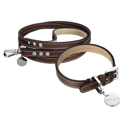 Saffiano Leather Dog Collar & Lead Set - Choc Brown