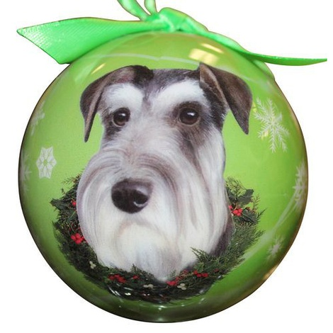 Uncropped Schnauzer Christmas Bauble 2