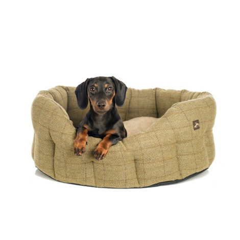 Tweed Oval Dog Bed  2