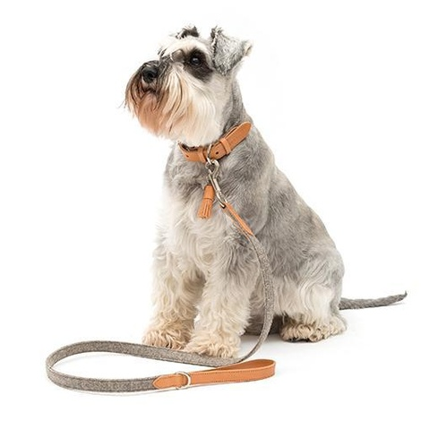 Camello Leather and Grey Tweed Dog Lead 4