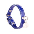 Sea Blue and Silver Stitch Leather Collar
