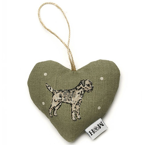 Dogs Linen Lavender Heart Green - Border Terrier