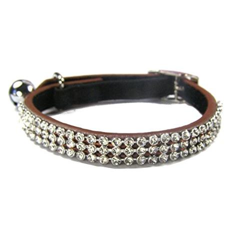 Jewel Cat Leather Collar - Brown