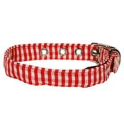 Creature Clothes - Gingham Fabric Dog Collar Red