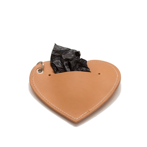 Leather Heart Poo Bag Pouch - Tan 2